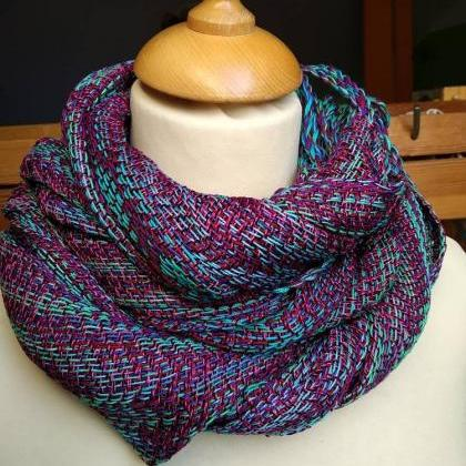 Colorful hand woven shawl - cotton ..