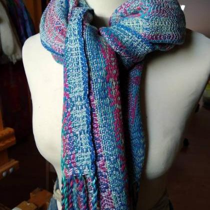 Handwoven shawl-Stole-Colorful scar..