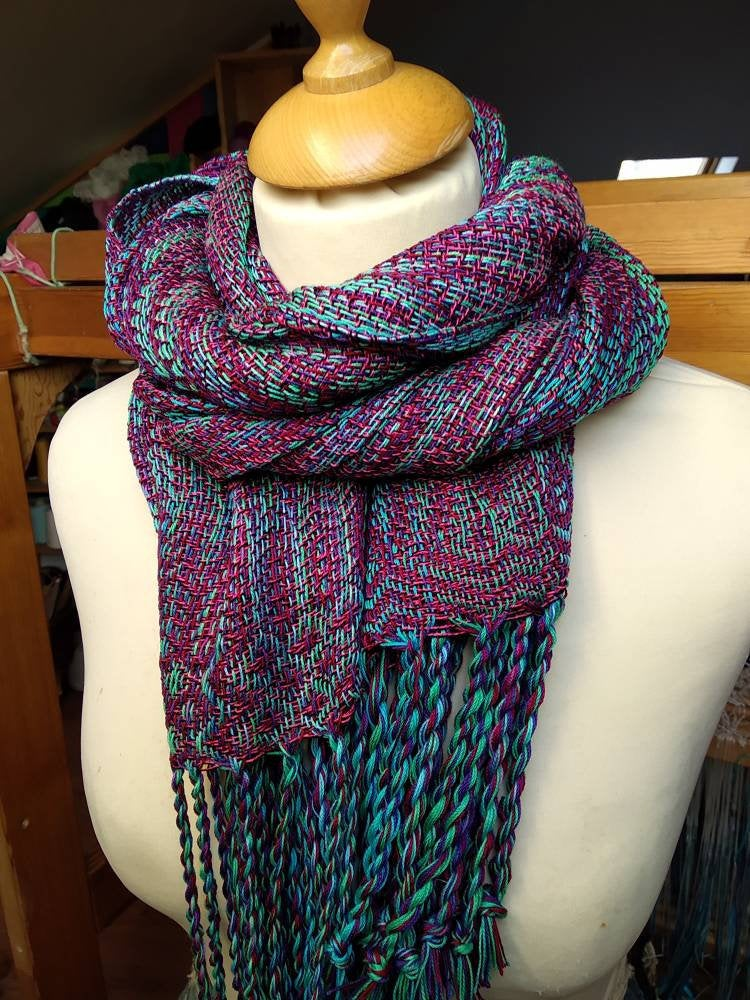 Colorful hand woven shawl - cotton and viscose