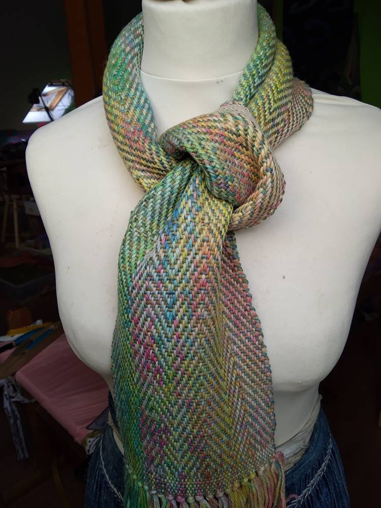 Small hand woven scarf, hand dyed, alpaca and merino wool, children's scarf, baby wearing