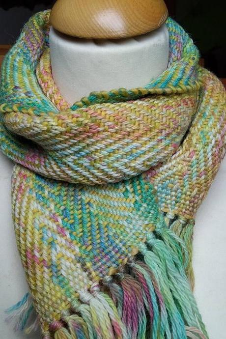 Hand woven, hand dyed, baby scarf, multicolor