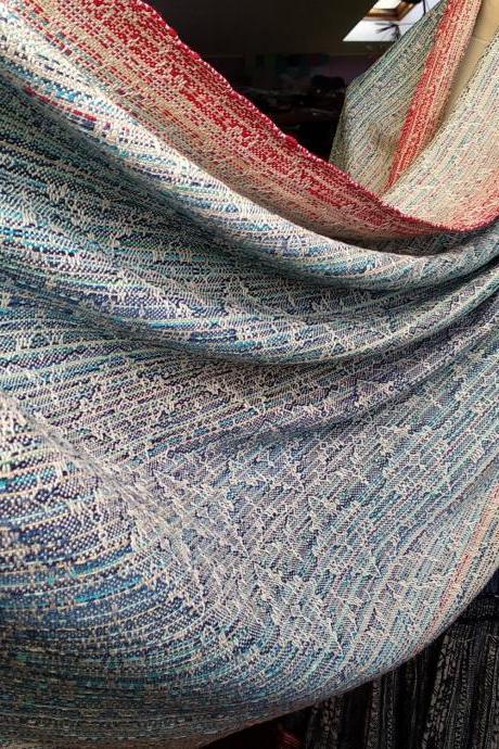 Hand woven shawl, baby wrap, cotton and silk