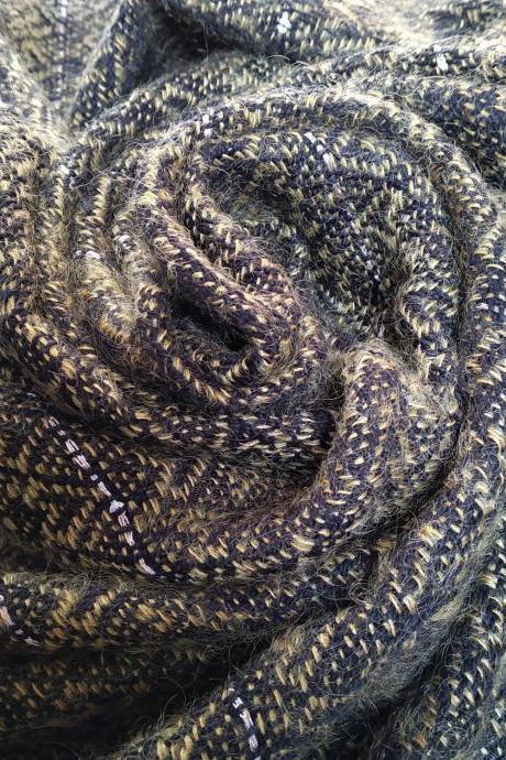 Handwoven evening shawl - golden and black - pailettes