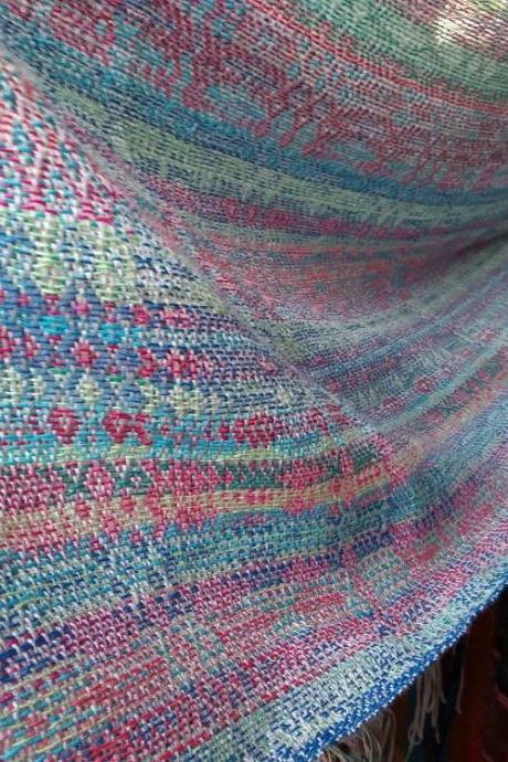 Handwoven shawl-Stole-Colorful scarf-hand dyed effect